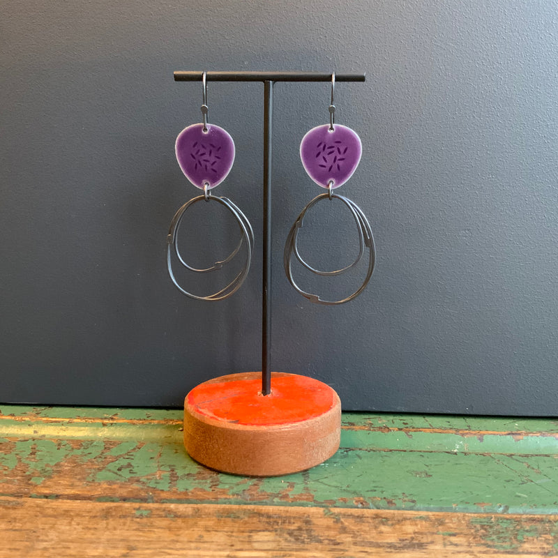 Flotsam Earrings with Loops 'Purple'