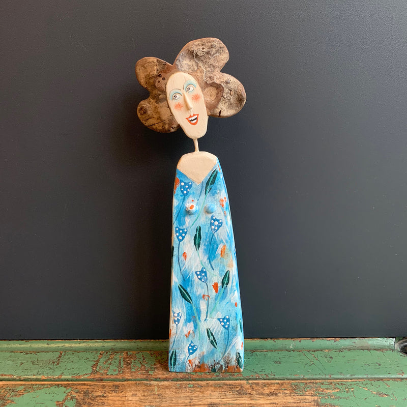Medium Bust Blue Lady Driftwood Sculpture