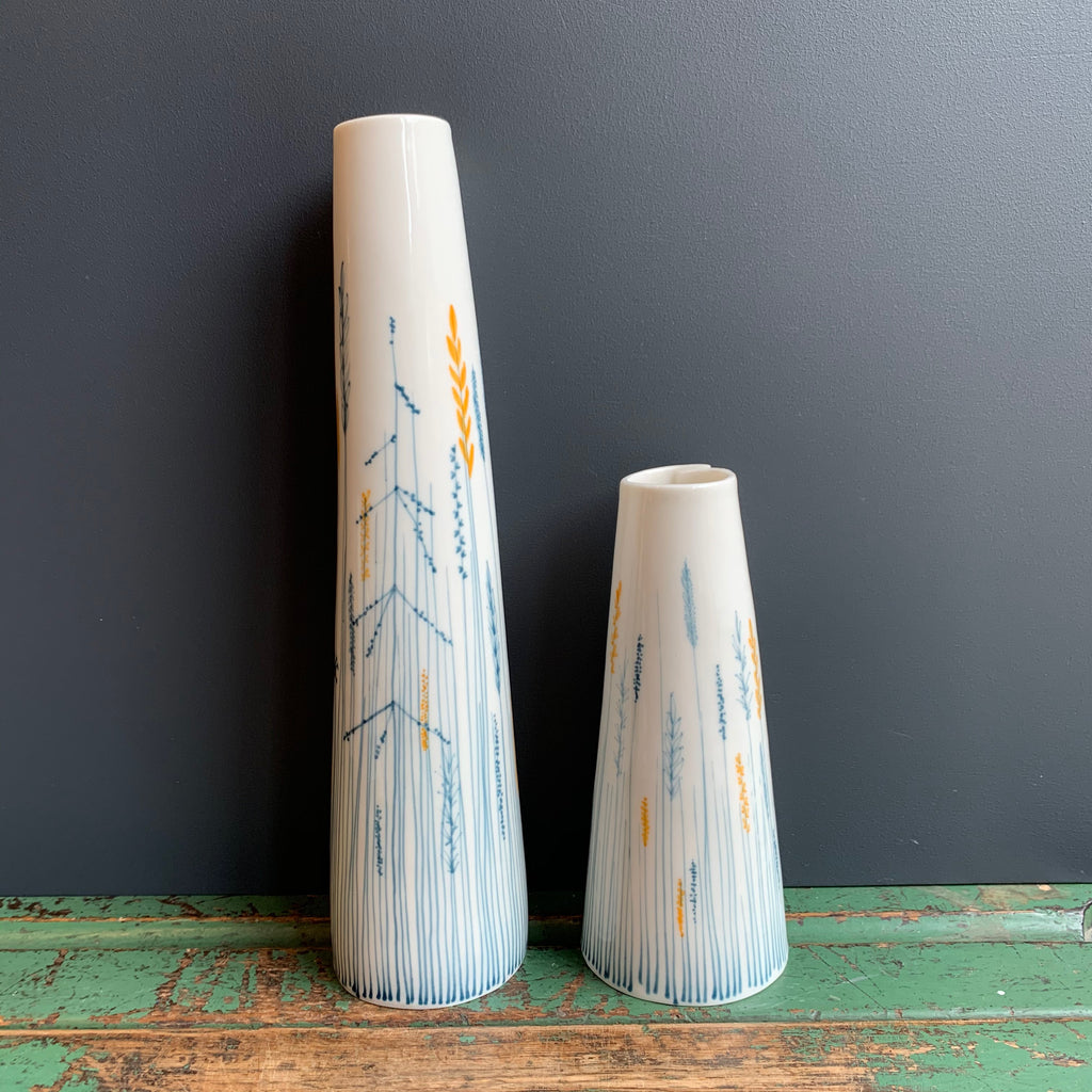 Meadow Pattern Tapered Vases