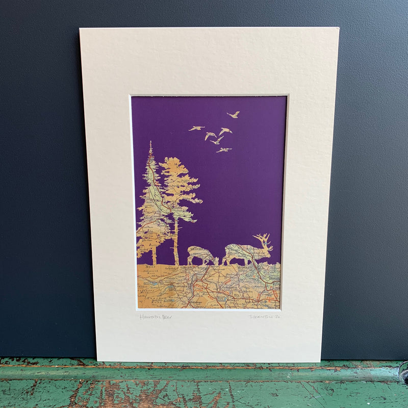 Haworth 'Winter Deer' Map Print