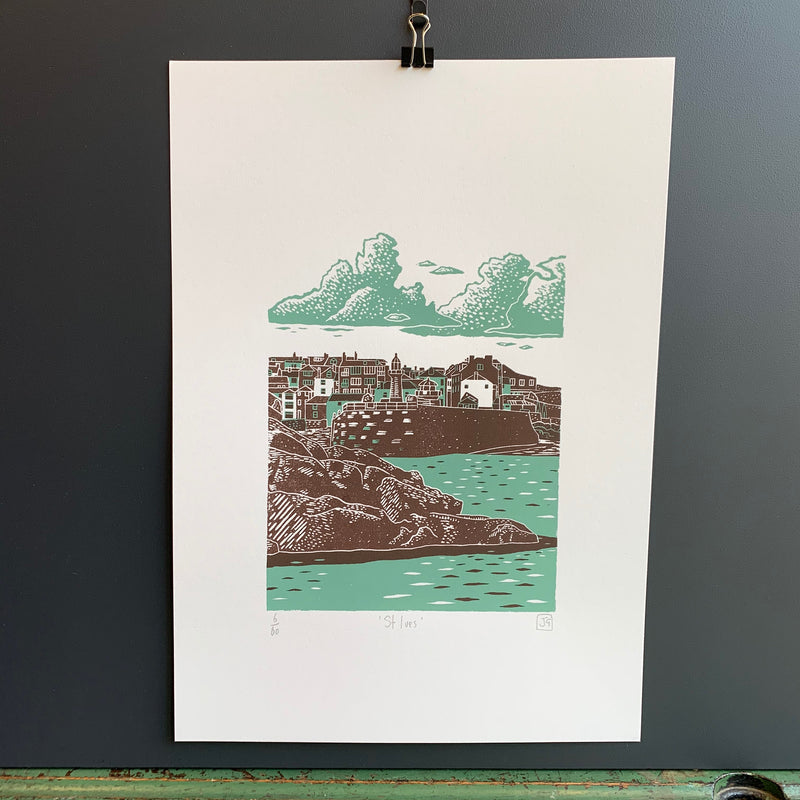 A3 'St Ives' Linocut/Screen Print