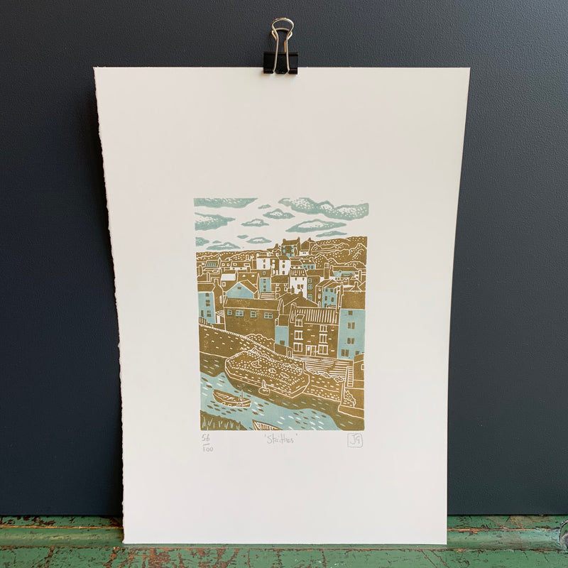 A4 'Staithes' Linocut Print