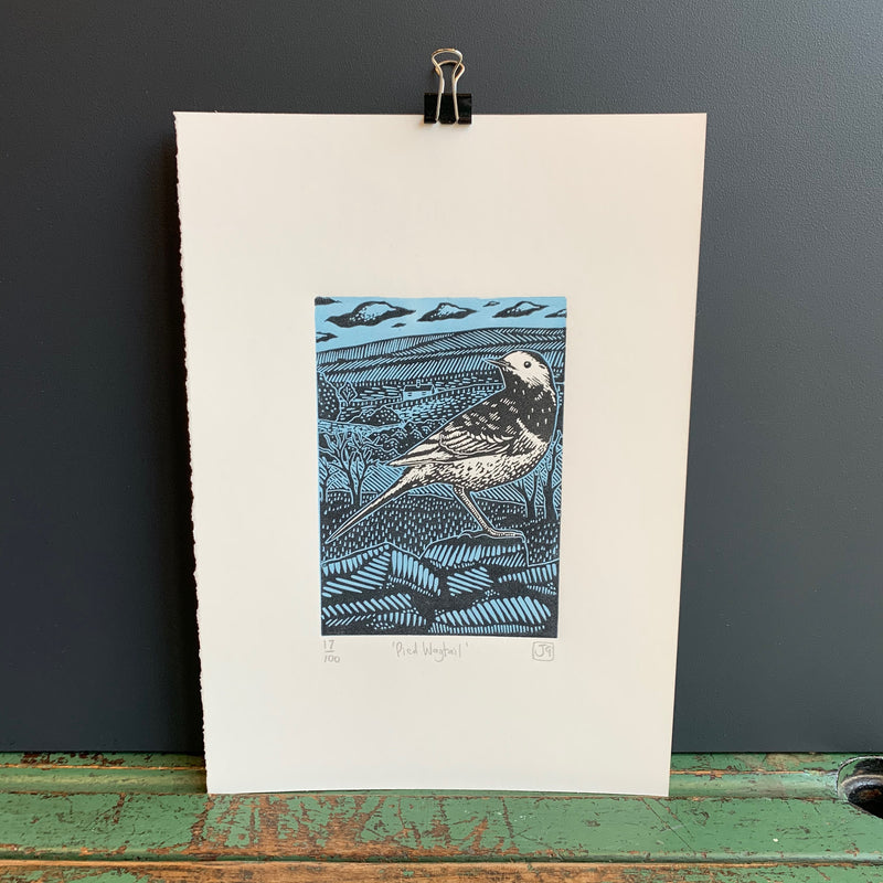 A4 'Pied Wagtail' Linocut Print
