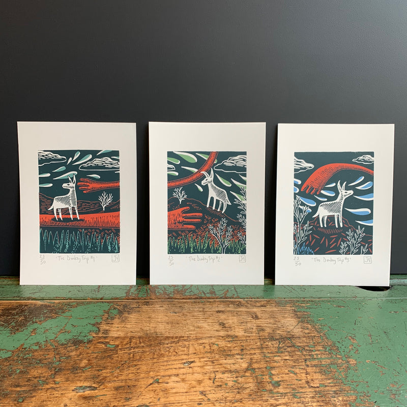 A5 'The Donkey Trip' Linocut/Screen Print Set