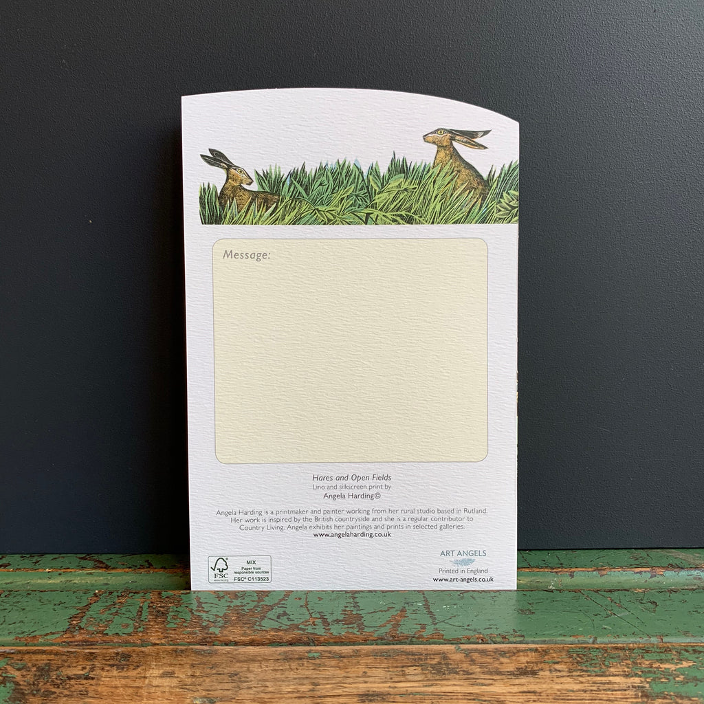 Angela Harding 'Hares and Open Fields' Die-Cut Card