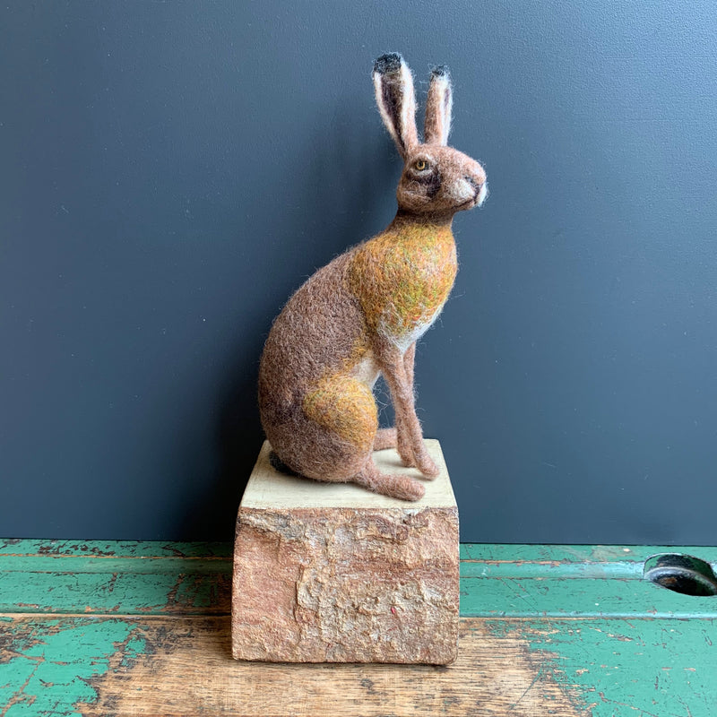Needle Felted 'Small Sitting Hare' on Wooden Plinth