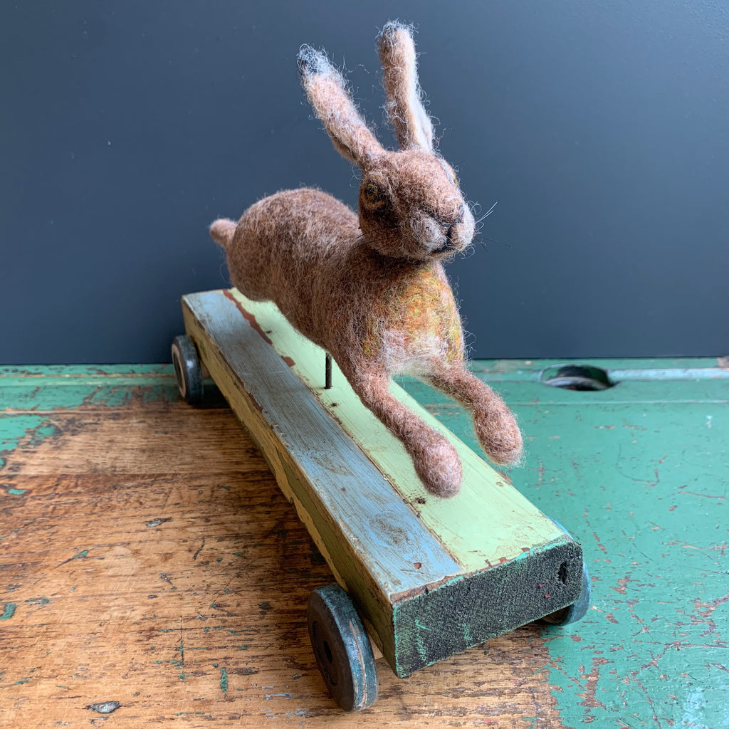 Needle Felted 'Running Hare'