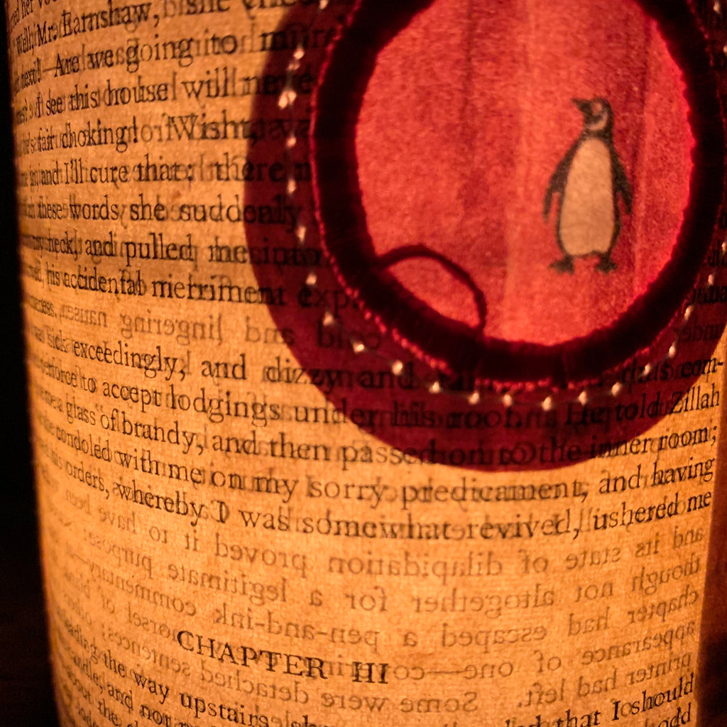 Stitched Paper Lantern 'Penguin Orange'