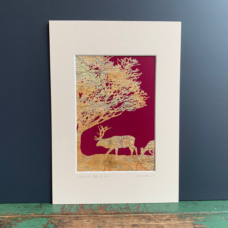 Haworth 'Deer & Oak' Map Print