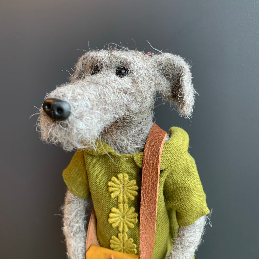 'Hattie' Needlefelt Dog Figure