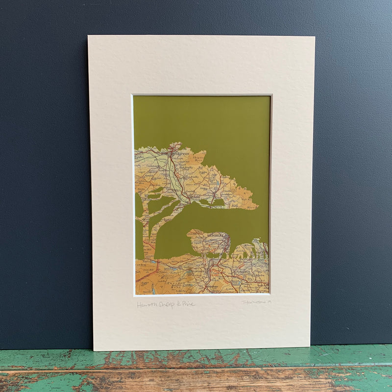 Haworth 'Sheep & Pine' Map Print