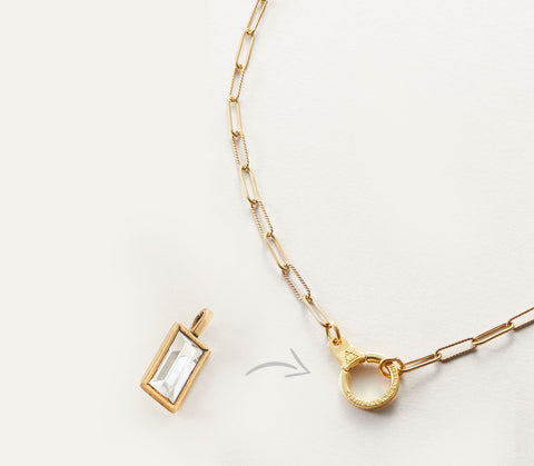 Gold AIR AND ANCHOR Paper Clip Cuff Keeper Necklace with Crystal Charm