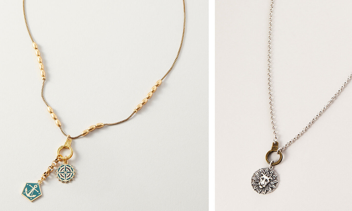 AIR AND ANCHOR Two Cuff Keeper Necklaces with Charms