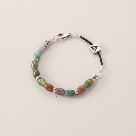 AIR AND ANCHOR Fancy Jasper Beaded Bracelet for Men with Silver Closure
