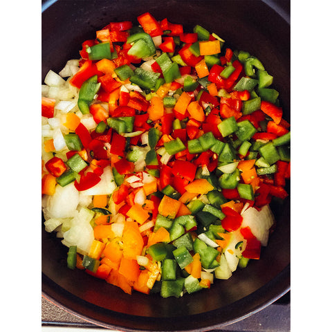 AIR AND ANCHOR's Killing Chili on the Stove with peppers and onions