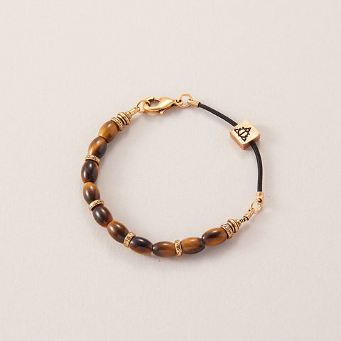 AIR AND ANCHOR Men's Tiger Eye Bracelet with Gold Finish