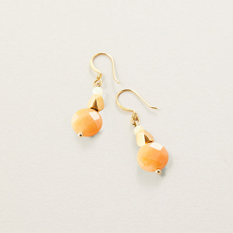 AIR AND ANCHOR's Pretty Pumped Orange Aventurine Round Drop Earrings
