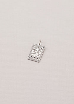 "Necklace Charm that Reads ""Focus on the Now"" in Silver"