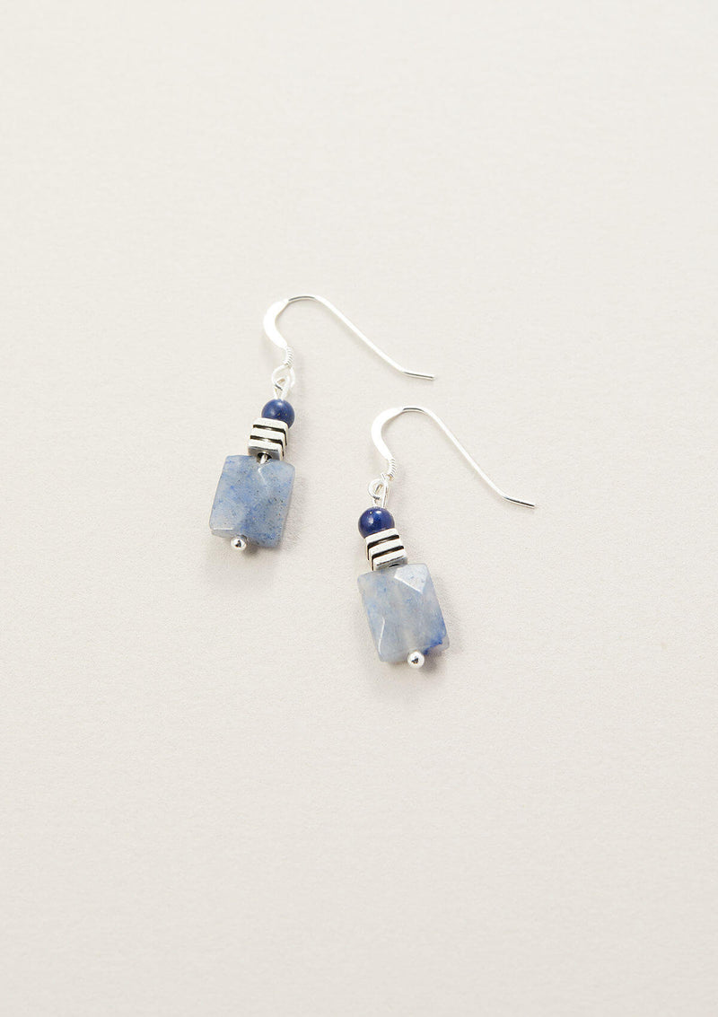 Blue Aventurine Rectangle Drop Earring