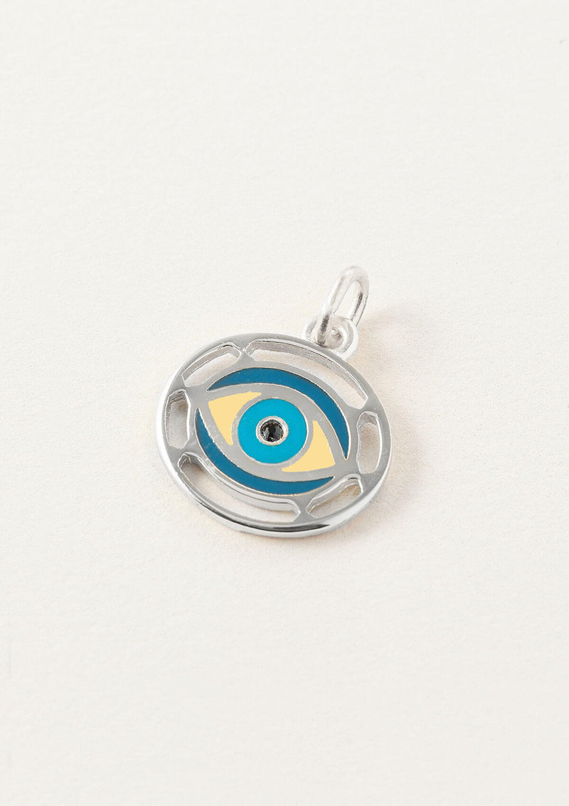 AIR AND ANCHOR silver evil eye charm with blue accents.