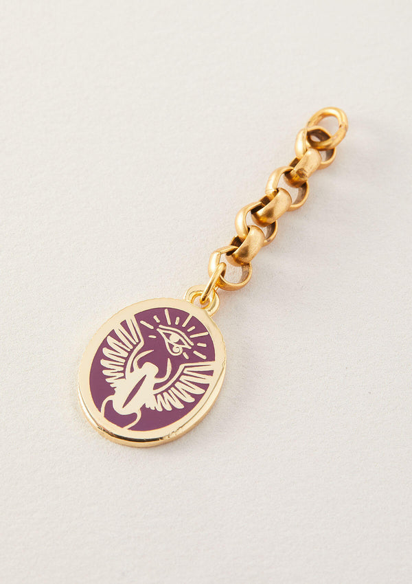 Always Journeying  Purple Scarab Pendant on Mainstay Extender