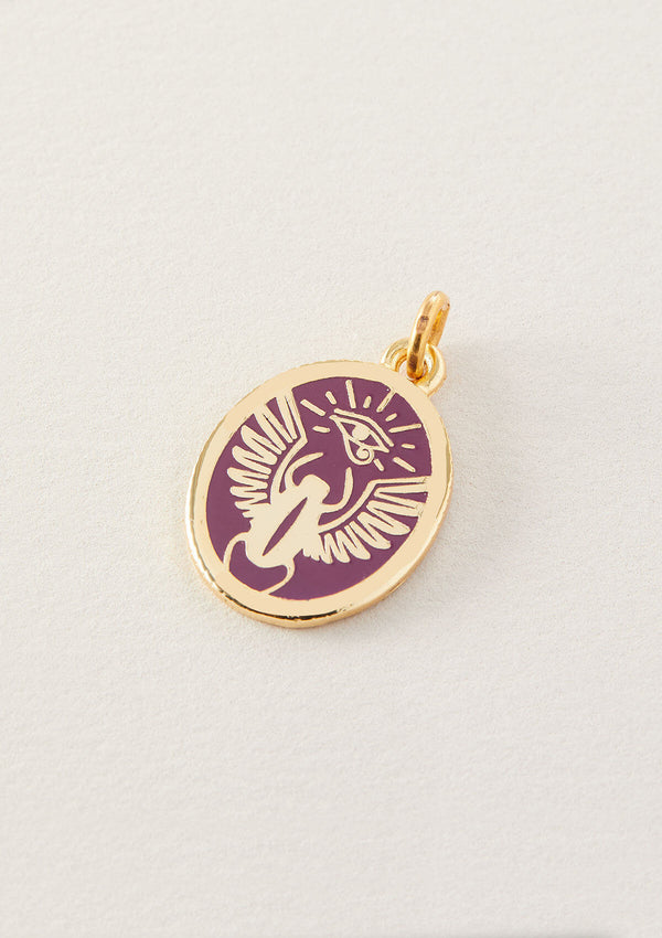 AIR AND ANCHOR's purple scarab adjustable charm pendant in gold.