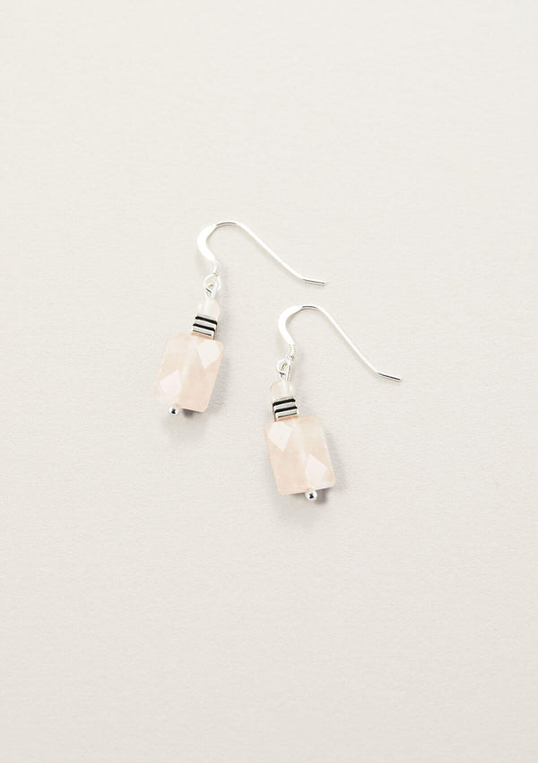 Love Ya Rose Quartz Rectangle Drop Earring