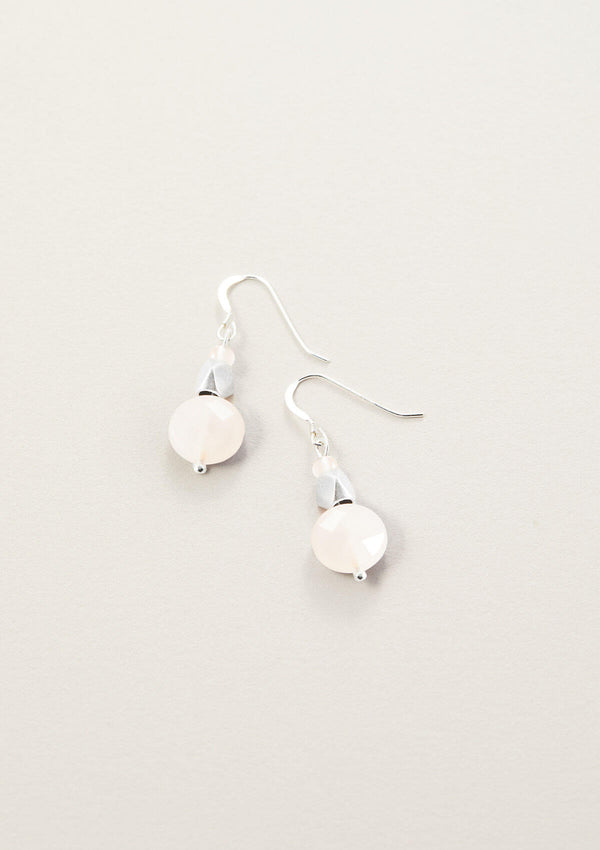 AIR AND ANCHOR's round drop earrings with rose quartz