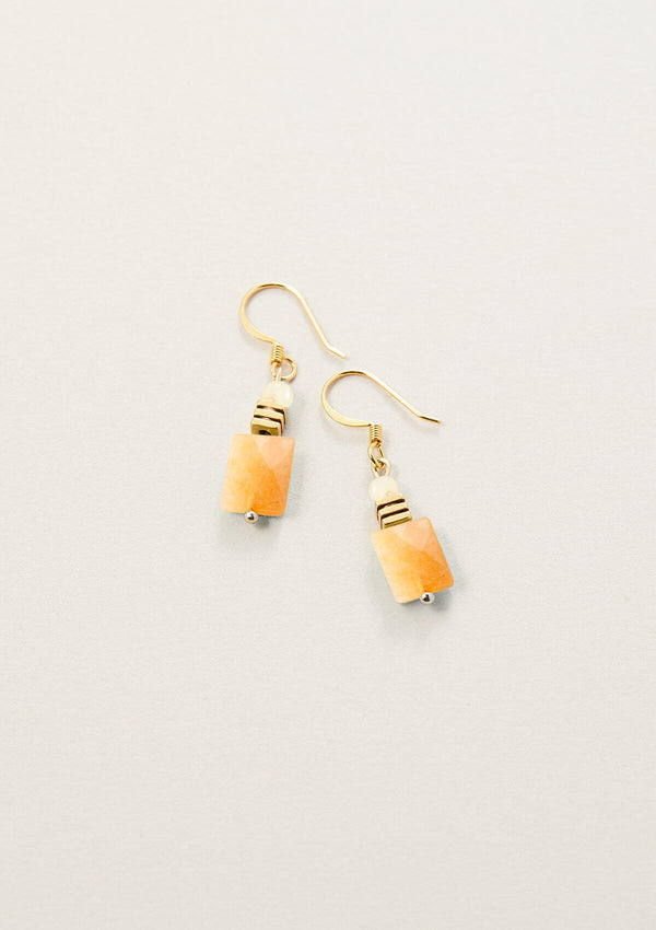 AIR AND ANCHOR's Pretty Pumped Orange Aventurine Rectangle Drop Earrings