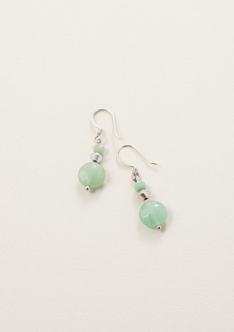 Simmah Down Green Aventurine Round Drop Earrings