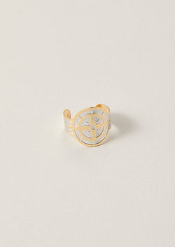 Compass Cigar Band Ring in Sterling Silver