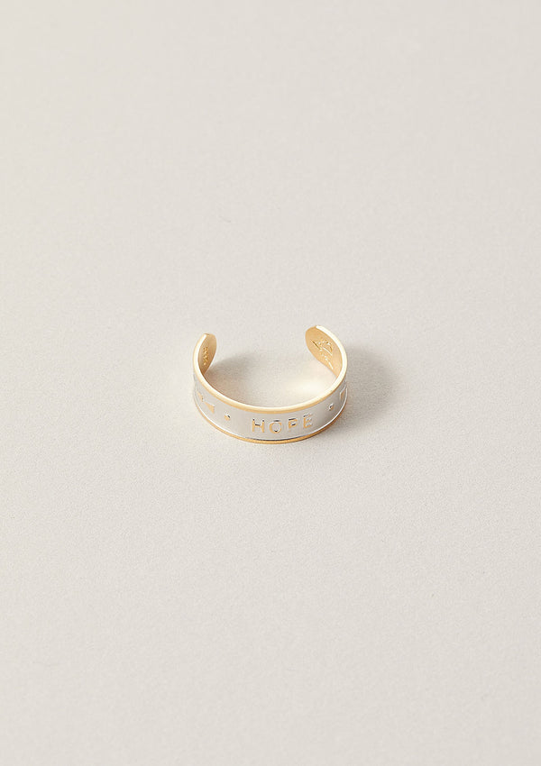 Hope Word Band Adjustable Ring in Sterling Silver