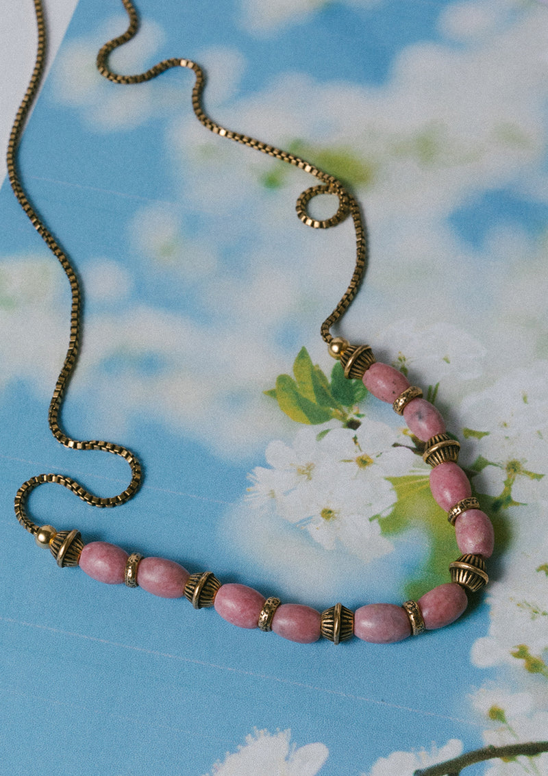 Love To Lova Ya Rhodonite Bib Necklace