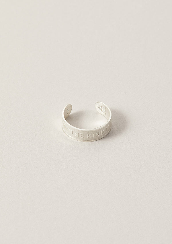 Be Kind Air and Anchor Word Band Ring in Sterling Silver