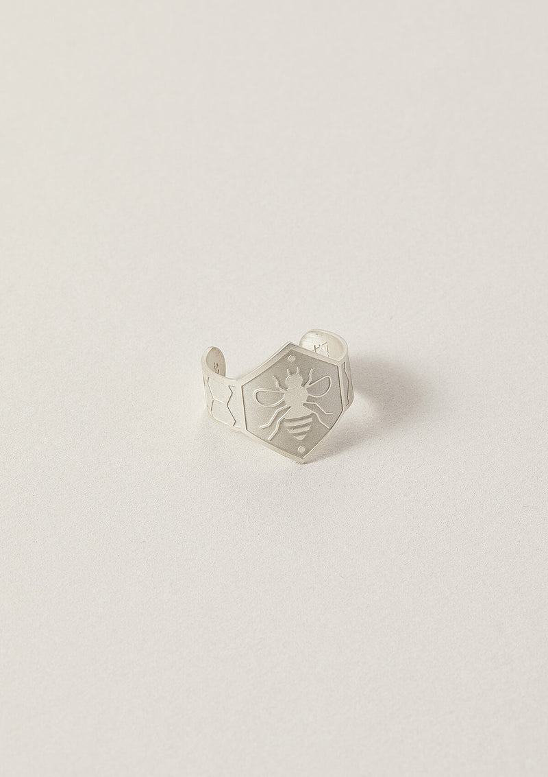 Air and Anchor Cigar Band Ring with Bee Symbol in Sterling Silver.