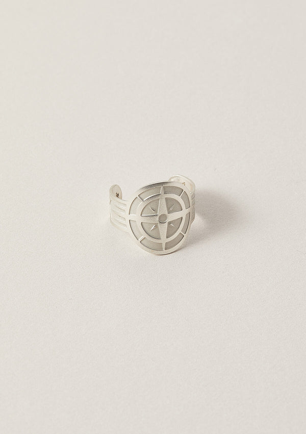 Air and Anchor Cigar Band Ring with Compass Symbol design in Sterling Silver