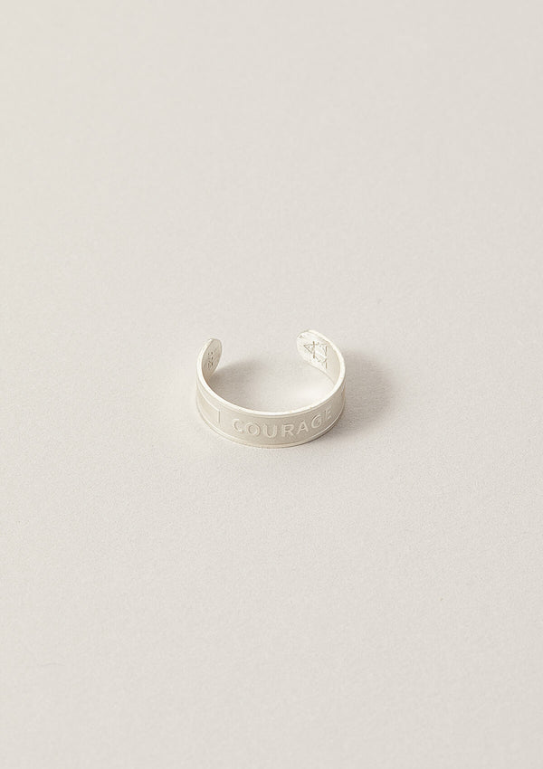 Courage Wise Word Band Adjustable Ring in Sterling Silver