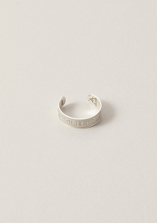 Direction Word Band Adjustable Ring in Sterling Silver