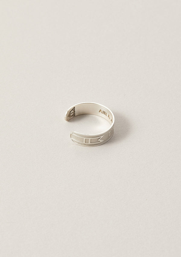 Side view of Direction Word Band Adjustable Ring in Sterling Silver with details