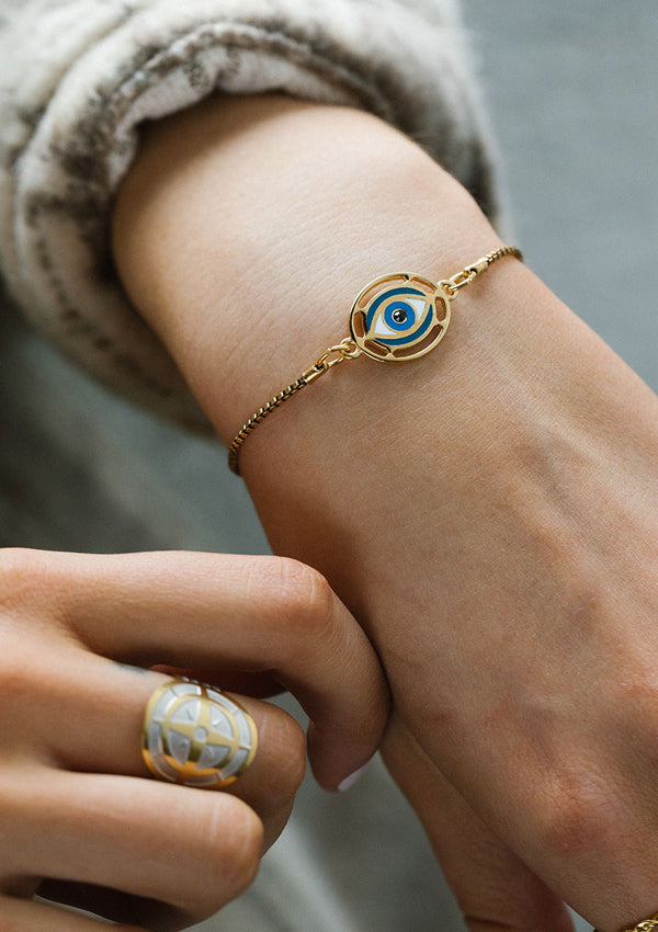 Evil Eye Charm Adjustable Chain Bracelet