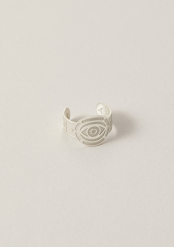 Evil Eye Cigar Band Ring in Sterling Silver