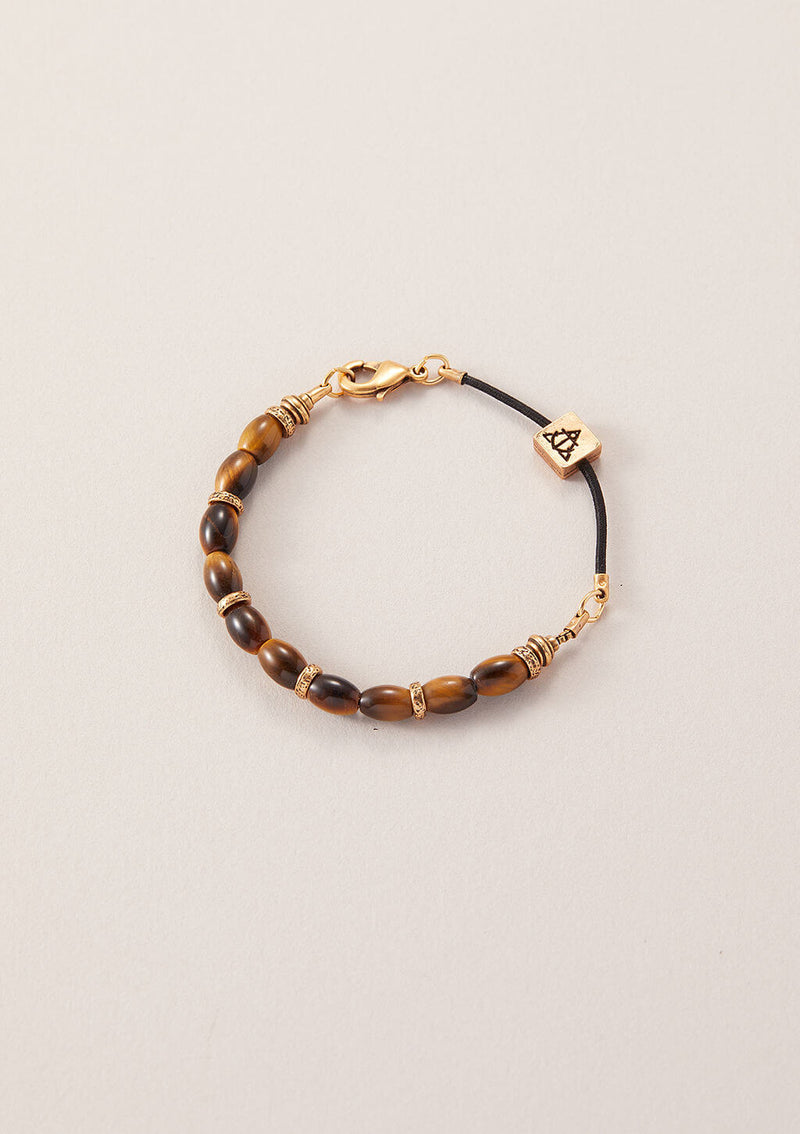AIR AND ANCHOR's Figure It Out Tiger Eye Beaded Bracelet in Gold