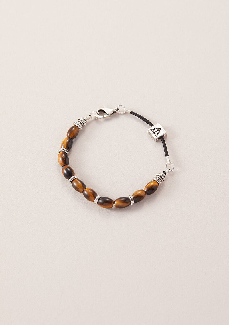 AIR AND ANCHOR's Figure It Out Tiger Eye Beaded Bracelet in Silver