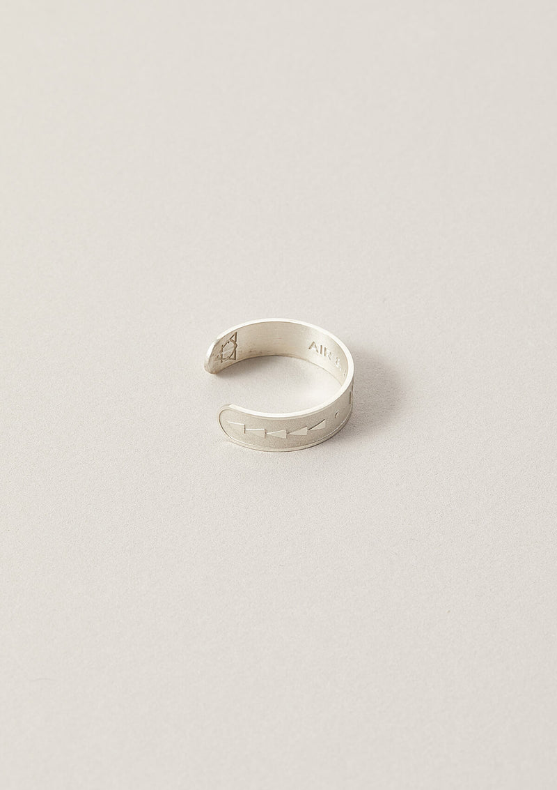 Hope Word Band Adjustable Ring in Sterling Silver with side triangular details