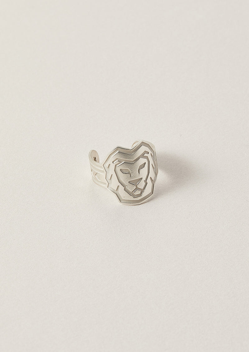 Lion Cigar Band Ring in Sterling Silver