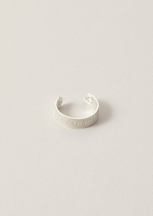 Patience Wise Word Adjustable Ring in Sterling Silver
