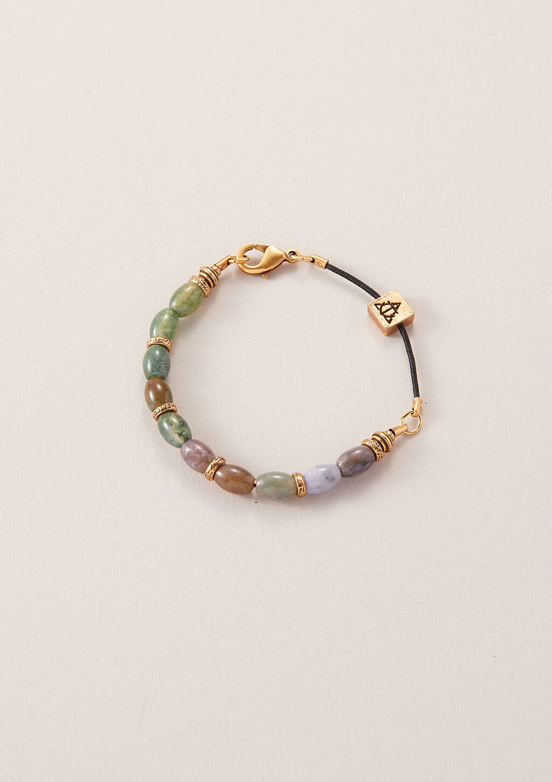 AIR AND ANCHOR's Stop Stressing Fancy Jasper Beaded Bracelet in Gold