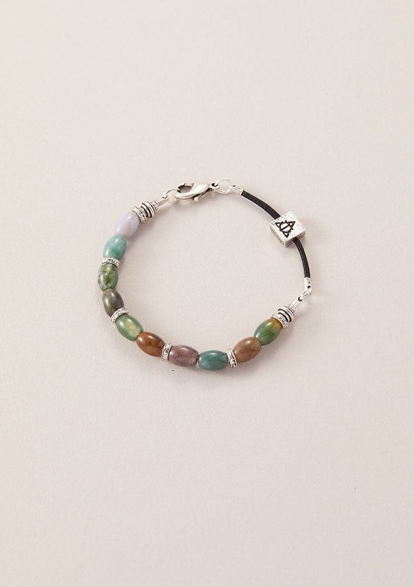 AIR AND ANCHOR's Stop Stressing Fancy Jasper Beaded Bracelet in Silver