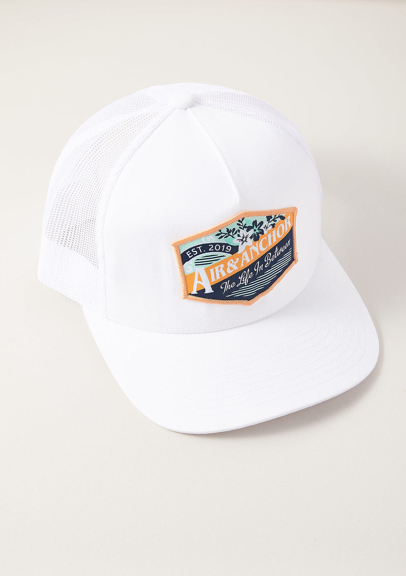 Trucker Hat in White with Life in Between Patch