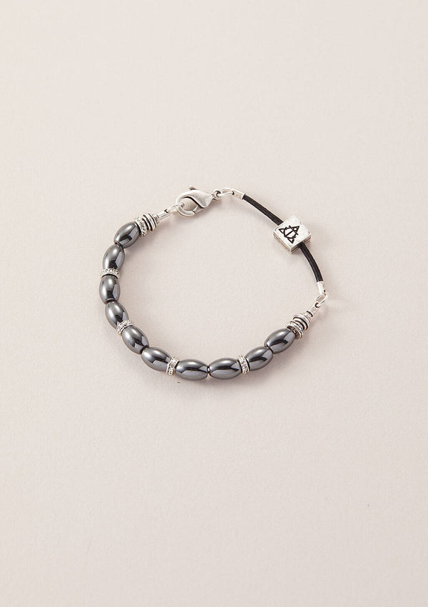 AIR AND ANCHOR's You Are a Force Hematine Bracelet in Silver